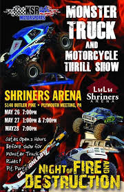 monster truck show in pa truck and motorcycle thrill show at lulu shriners arena lulu