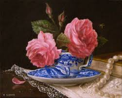 italian porcelain roses small 8x10 classical still painting pink roses in