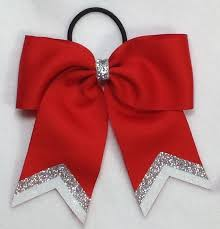 bow for hair small with silver white glitter tip sport hair bow