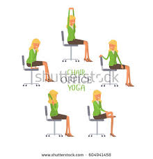 Desk Chair Workout Vector Illustration Office Chair Yoga Business Stock Vector