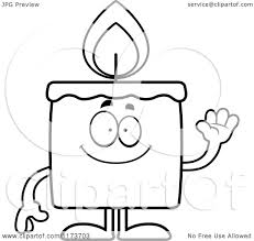 cartoon clipart of a waving candle mascot vector outlined