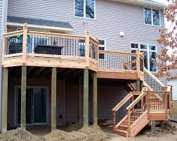 Multi Level Backyard Ideas Multilevel Deck With Floor Board Pattern Wide Steps And Partial