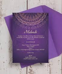mehndi invitation cards purple gold mehndi baraat card from 1 00 each