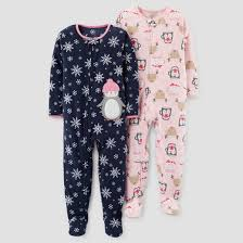 toddler 2pk fleece snowflakes penguin footed pajama set