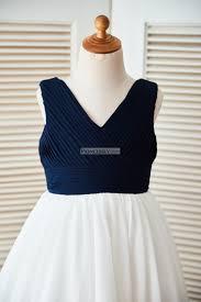 boho v neck navy blue pleated ivory chiffon beach wedding flower