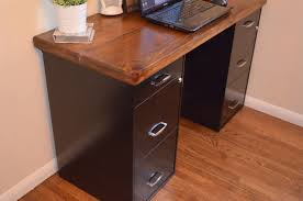 Office Desk With File Cabinet Desk Made From File Cabinets Countertop And Bookshelves On Top