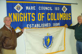 Mass State Flag Ware Knights Of Columbus Gets Gift Of Massachusetts State Flag