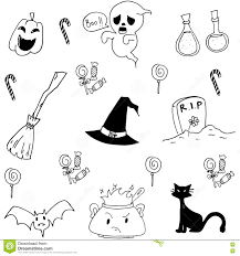halloween doodle set candy cat ghost stock vector image 73309203