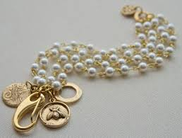 gold bracelet with pearl charm images Bridal pearl charm bracelet grace kelly bracelet rear window jpg