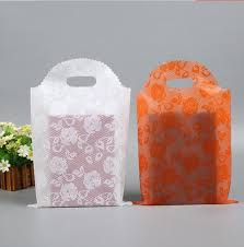 25 40cm 50pcs large plastic gift shopping bag with handles white t