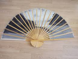 Asian Wall Fans by Vintage Large Hand Painted Asian Fan Bamboo And Fabric 35 X 60