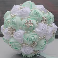 quinceanera bouquets mint and white wedding bridal bouquets wedding supplies artificial