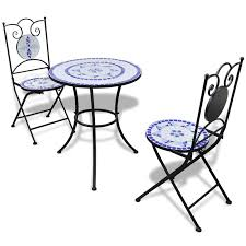 Folding Bistro Table And 2 Chairs Blue White Mosaic Bistro Table 60 Cm With 2 Chairs Blue White
