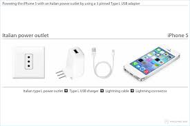 l with usb charger charging the iphone 5 in italy
