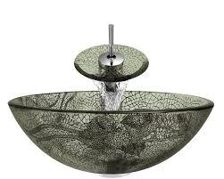 624 cracked vineyard glass vessel bathroom sink