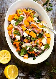 cold sweet potato salad with cranberries and pecans just a