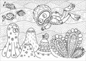 find fish hidden in the coral reef coloring page free printable