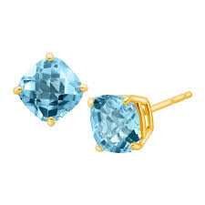 blue topaz earrings 1 3 4 ct cushion cut swiss blue topaz earrings in 14k gold