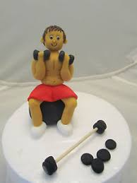 weight lifting cake topper weight lifter keep fit edible figure birthday cake topper 1st