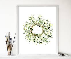 art print mistletoe wreath wreath watercolor print