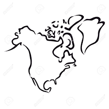 black abstract outline of north america map royalty free cliparts