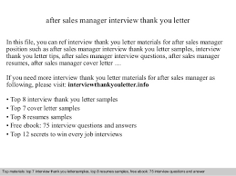 ideas of sample thank you letter after interview management