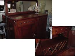 rebuilt antique wine buffet bar with new mirror and plenty of