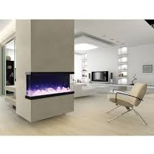 amantii panorama tru view u2013 3 sided electric fireplace u2013 ventless