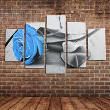 painting wall murals promotion shop for promotional painting wall hand painted 5 panels canvas art blue rose flower oil painting large wall mural picture decoration home decor no frame
