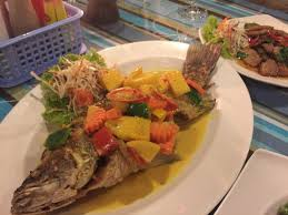 Mango Boom flash fried snapper in curry with mango to die for picture