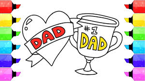 how to draw father u0027s day heart and dad trophy coloring pages