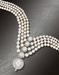 pearl necklace with diamond images Superb four row natural pearl and diamond necklace jpg