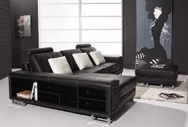 Black Leather Sectional Sofa Black Leather Modern Sectional Sofa W Shelves U0026 Ottoman
