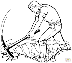 man with pickax coloring page free printable coloring pages