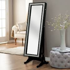 Jewelry Full Length Mirror Armoire Amazon Com Iconic Home Glitzy Contemporary Elegant Black Crystal