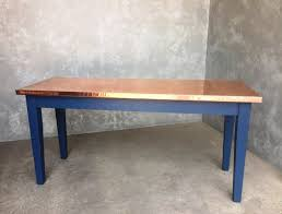 Handmade Natural Copper Top Kitchen Dining Table - Copper kitchen table