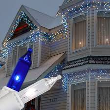 impressive look of blue and white outdoor lights