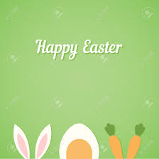 vector happy easter card green background with minimal flat rabbit