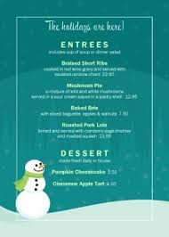 customize holiday table tent menu holiday christmas snowman