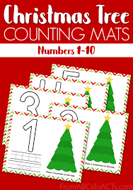 printable christmas tree math mats from abcs to acts