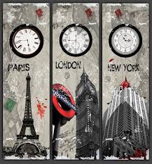 Paris Home Decor Accessories 3 Piece Wall Art The Paris Eiffel Tower London New York Clock