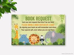 baby shower bring a book instead of a card jungle baby shower book request from muse printable