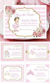 save the date baby shower princess pink gold baby shower save the dates that dazzle