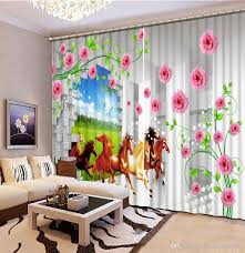 2017 photo customize size 3d curtains pink flowr horse custom