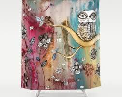 Owl Drapes Boho Shower Curtain Etsy