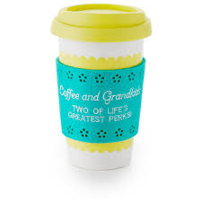 Travel Mug Yellow And Turquoise Ceramic Travel Mug For Grandmas Mugs