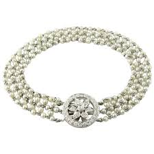 bracelet diamond pearl images Antique pearl and platinum bracelet with diamond clasp gold and jpg