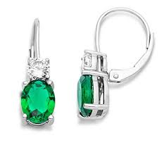 emerald earrings uk miore women s 925 sterling silver emerald green and cubic zirconia