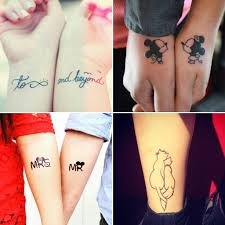 lovely black ink tattoo designs for best couple tattoo
