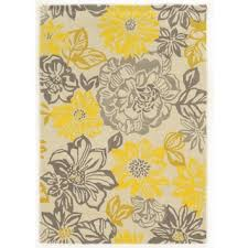 Yellow Area Rugs Overstock Trio Collection Floral Grey Yellow Area Rug 5 X